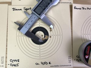 Streukreis geschossen mit Diana Sport Diabolos