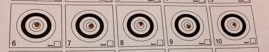 5 beschossene Benchrest Ziele