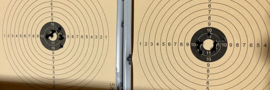 Zwei beschossene Zielscheiben