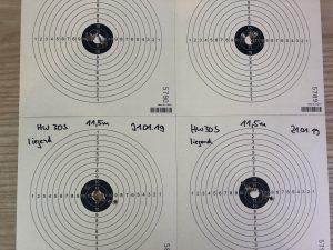 Streukreise geschossen mit der Weihrauch HW30S