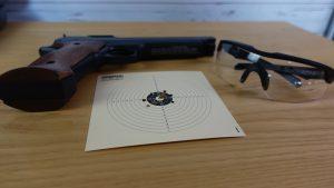 Schussergebnis der Sig Sauer ASP Super Target mit Wiley X Brille