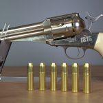 Remington Modell 1875 Linke Seite mit Patronenhülsen